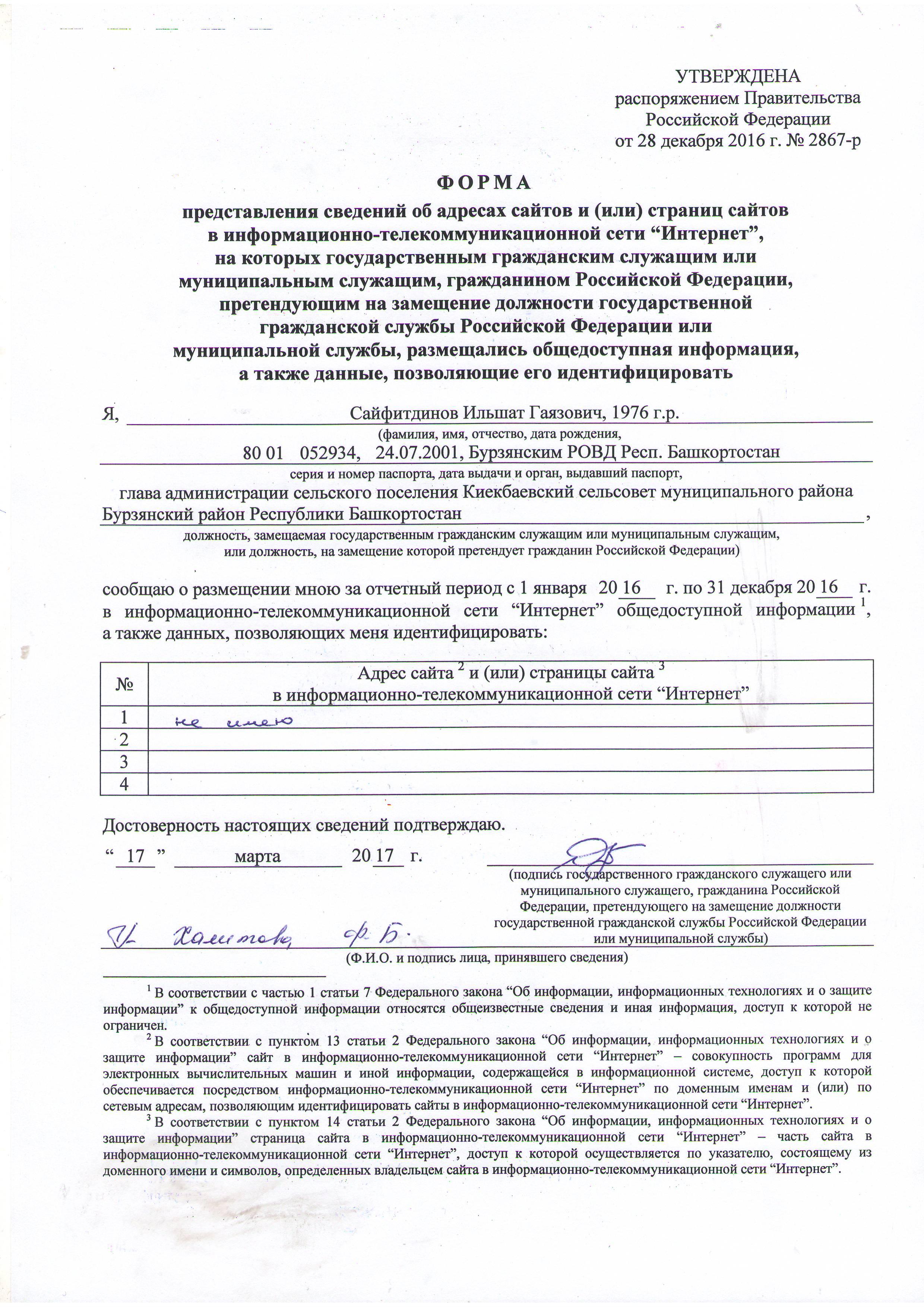 Сведения об адресах сайтов Сайфитдинова